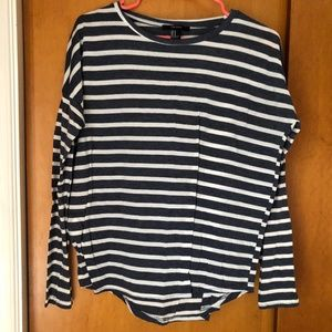 forever 21 blue and white striped dolman t-shirt